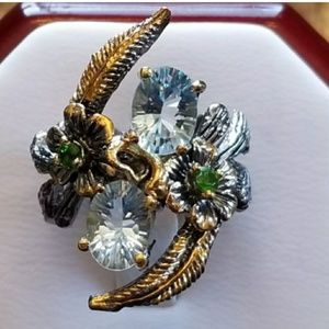 Jewelry - Aquamarine & Chrome Diopside Designer Ring 7